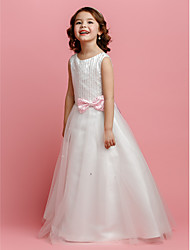 cheap -A-Line / Princess Floor Length Flower Girl Dress - Satin / Tulle Sleeveless Jewel Neck with Beading / Bow(s) by LAN TING BRIDE® / Spring / Summer / Fall