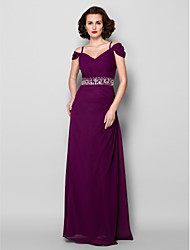 Sheath / Column Spaghetti Straps Floor Length Chiffon Mother of the Bride Dress withBeading Crystal Detailing Sash / Ribbon Side Draping