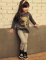 Girls' Animal Print Clothing Set Spring Fall Long Sleeve Animal Print Black Beige Dark Gray