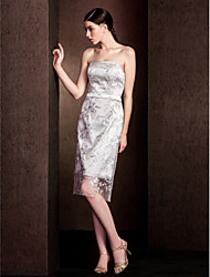 Sheath / Column Strapless Knee Length Lace Bridesmaid Dress with Lace Sash / Ribbon by LAN TING BRIDE®