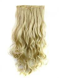 cheap -24 Inch 120g Long Heat Resistant Synthetic Fiber Blonde Curly Clip In Hair Extensions with 5 Clips