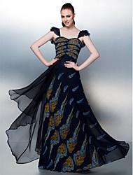 Corte en A Hasta el Suelo Raso Baile de Promoción Vestido con En Cruz por TS Couture®