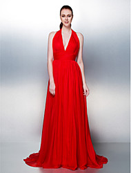 A-Line Princess Halter Court Train Chiffon Formal Evening Dress with Draping Criss Cross by TS Couture®