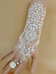abordables -Fleurs de mariage Rond Petit bouquet de fleurs au poignet Mariage Dentelle Perle
