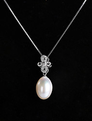 cheap -Natural White Pearl 925 Sterling Silver Necklace