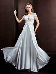 cheap -A-Line Jewel Neck Floor Length Lace / Satin Chiffon Made-To-Measure Wedding Dresses with Lace / Sash / Ribbon by LAN TING BRIDE® / Illusion Sleeve / See-Through