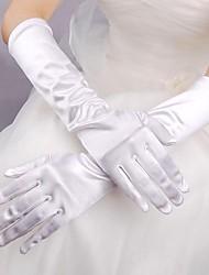 Ellenbogen Länge Fingerspitzen Handschuh Elastischer Satin Brauthandschuhe Frühling Sommer Herbst Winter