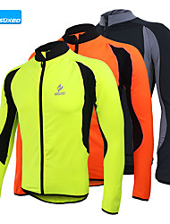 abordables -Arsuxeo Hombre Manga Larga Chaqueta de Ciclismo - Negro / Naranja / Verde Bicicleta Camiseta / Maillot, Mantiene abrigado, Secado rápido, Diseño Anatómico Vellón / Transpirable / Alta elasticidad
