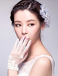 cheap -Tulle Cotton Wrist Length Glove Charm Stylish Bridal Gloves With Embroidery Solid