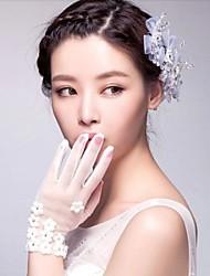 lunghezza tulle avorio polso delle dita guanti da sposa con piccoli fiori asg33