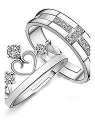 925 Couples' Silver Rhinestone Crown Rings (2 pcs) Elegant Style