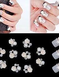 abordables -10pcs 3d fleur rose blanc perle strass accessoires de bricolage nail art décoration