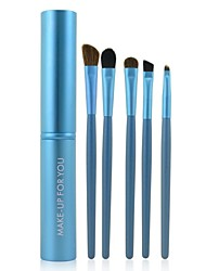 cheap -Make-up For You® 5pcs Makeup Brushes set Pony/Horse Hair  Limits bacteria/Portable Blue Brush Makeup Kit Cosmetic Brushes Tool set