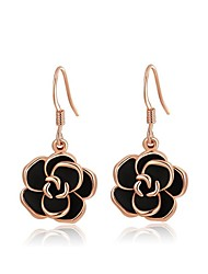 cheap -Crystal Drop Earrings - Cubic Zirconia, Gold Plated, Austria Crystal Roses, Flower Vintage, Party, Work Black / Screen Color For