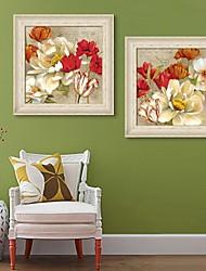 baratos -Floral/Botânico Quadros Emoldurados / Conjunto Emoldurado Wall Art,PVC Beje Sem Cartolina de Passepartout com frame Wall Art