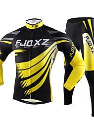 baratos -dos homens fjqxz outono inverno mangas compridas jersey calças amarelo + preto fleece ciclo térmico terno