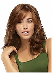 Capless Brown Long High Quality Natural Curly  Synthetic Wigs with Side Bang