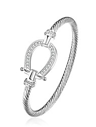 abordables -Femme Charmes pour Bracelets Bracelets Rigides Cuivre Plaqué argent Simple Style Goutte Argent Bijoux 1pc