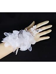 Spitzen Handgelenk Länge finger Hochzeit Handschuhe mit handgemachten Blumen mit Strass asg45