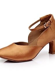 cheap -Women's Modern Satin High Heel Heel Buckle Customized Heel Black Brown Customizable