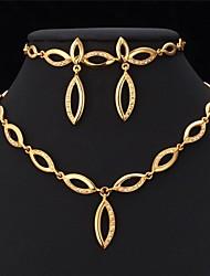 billiga -u7® halsband scenografi 18k äkta guld pläterad Strass halsband örhängen armband parti smycken set