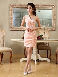economico -A tubino Monospalla Corto / mini Raso Cocktail Rimpatriata di classe Vestito con Perline Dettagli con cristalli Drappeggio di lato di