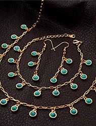 Недорогие -u7® падение серьги ожерелье шарма браслет 18k реальное позолоченные бирюзовый комплект ювелирных изделий камень