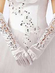 billige -Bomuld Elastisk satin Håndledslængde Albuelængde Handske Vedhæng Stilfuld Brudehandsker With Broderi Solid