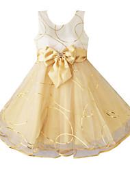 Vestito Girl Estate / Autunno / Primavera Cotone / Organza Viola / Giallo Fantasia floreale