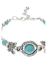 abordables -Femme Turquoise Papillon Bracelets Vintage - Forme de Cercle Forme Géométrique Animal Bleu clair Bracelet Pour Soirée Quotidien