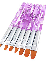 cheap -7PCS 2in1 Acrylic&UV Gel Brush Set Nylon Hair Water Pattern Purple Transparent Acrylic Handle Nail Art