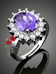 cheap -Women's Statement Ring White Purple Pink Cubic Zirconia Alloy Fashion Party Costume Jewelry