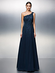 A-Line One Shoulder Floor Length Tulle Prom Formal Evening Black Tie Gala Dress with Appliques by TS Couture®