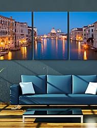 e-Home® allungato portato Tela artistica città effetto canale principale istantanea set di 3