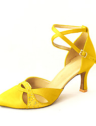 cheap -Women's Modern Ballroom Satin Heel Rhinestone Buckle Yellow Red Bronze Pink Blue Customizable