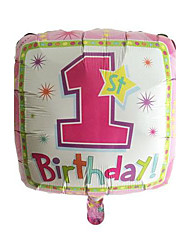 Balão-de-rosa quadrado 1º aniversário metálico para a menina
