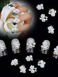 10pcs 3d rosa bianca perla del fiore strass accessori diy nail art decorazione