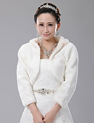cheap -Fur Wraps / Wedding  Wraps Coats/Jackets Long Sleeve Faux Fur Ivory Wedding 35cm Open Front
