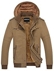 Недорогие -Мужской Однотонный Куртка На каждый день,Смесь хлопка,Длинный рукав,Зеленый / Желтый