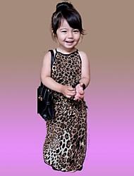 cheap -Girl's Leopard Dress,Cotton Summer Sleeveless Yellow