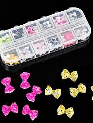 60pcs 12 disegno resina acrilica papillon decorazione nail art
