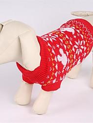 baratos -Gato Cachorro Súeters Roupas para Cães Natal Floco de Neve Vermelho Ocasiões Especiais Para animais de estimação