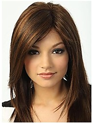 cheap -Synthetic Wig Straight With Bangs Synthetic Hair 15 inch Highlighted / Balayage Hair / With Bangs Brown Wig Women's Long Capless