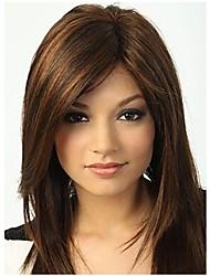 capless Mischungsfarbe lange Länge hochwertigen natürlichen glatte Haare synthetische Perücke Seite bang mit