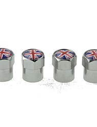 cheap -Luxury Car Tire National Flag Copper Valves Decoration Cap (UK 4 Pieces Per Pack)