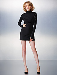 Sheath / Column High Neck Short / Mini Jersey Cocktail Party Dress with Beading by TS Couture®