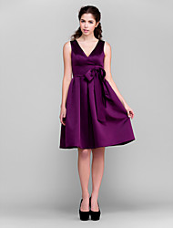 A-Line Princess V-neck Knee Length Satin Bridesmaid Dress with Bow(s) Sash / Ribbon by LAN TING BRIDE®
