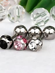 1pair aço com 6 mm em forma de bola inoxidável com brincos de strass (cores aleatórias)