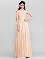 cheap -Sheath / Column Jewel Neck Floor Length Chiffon Bridesmaid Dress with Split Front Ruching by LAN TING BRIDE®