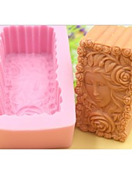 cheap -Beautiful Girl Rose Flower Shaped Fondant Cake Chocolate Silicone Mold Cake Decoration Tools,L10.1cm*W5.9cm*H4.2cm